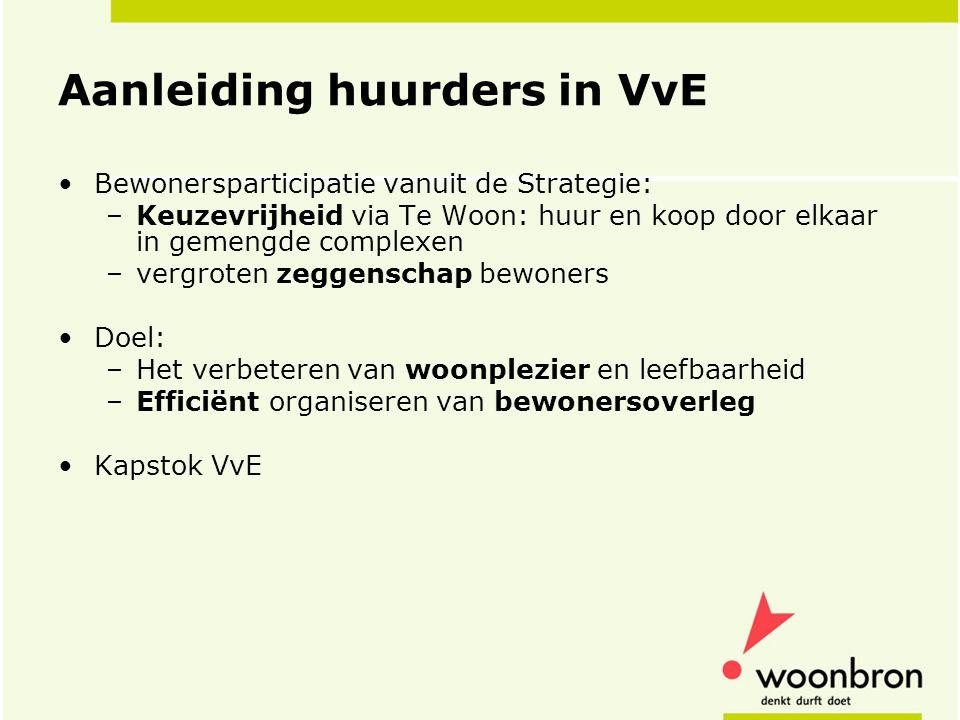 Aanleiding huurders in VvE •Bewonersparticipatie vanuit de Strategie: –Keuzevrijheid via Te Woon: huur en koop door elkaar in gemengde complexen –verg