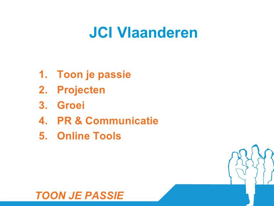 1.Toon je passie 2.Projecten 3.Groei 4.PR & Communicatie 5.Online Tools TOON JE PASSIE JCI Vlaanderen