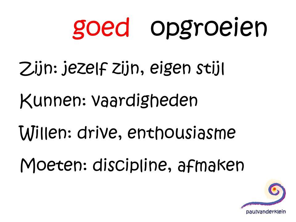 goed opgroeien Zijn: jezelf zijn, eigen stijl Kunnen: vaardigheden Willen: drive, enthousiasme Moeten: discipline, afmaken