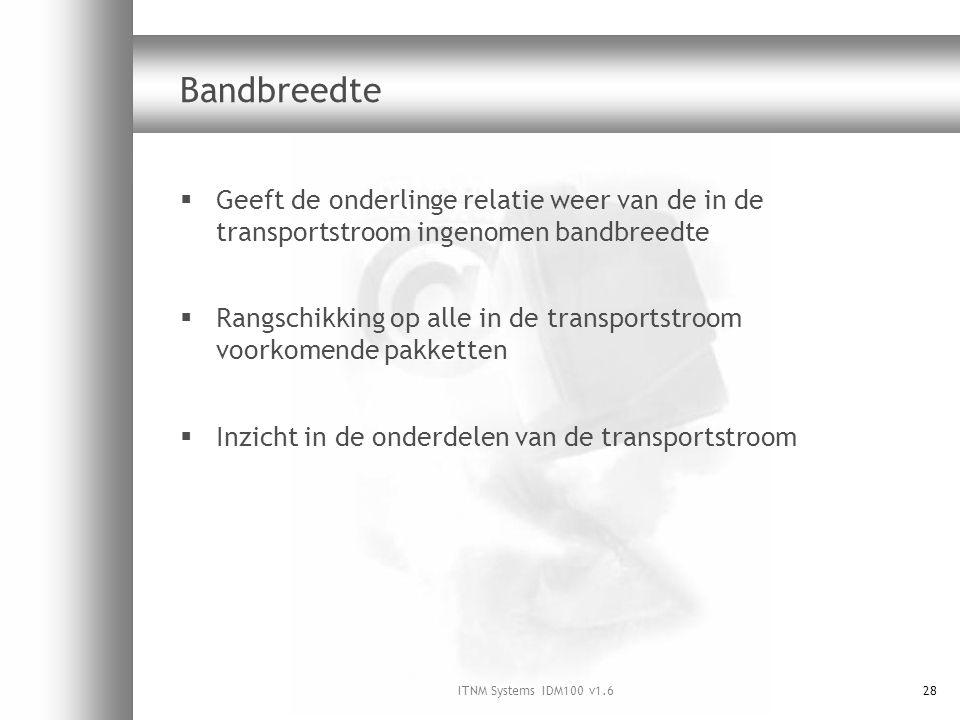 ITNM Systems IDM100 v1.628 Bandbreedte  Geeft de onderlinge relatie weer van de in de transportstroom ingenomen bandbreedte  Rangschikking op alle in de transportstroom voorkomende pakketten  Inzicht in de onderdelen van de transportstroom