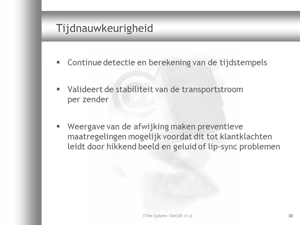 ITNM Systems IDM100 v1.630 Tijdnauwkeurigheid  Continue detectie en berekening van de tijdstempels  Valideert de stabiliteit van de transportstroom