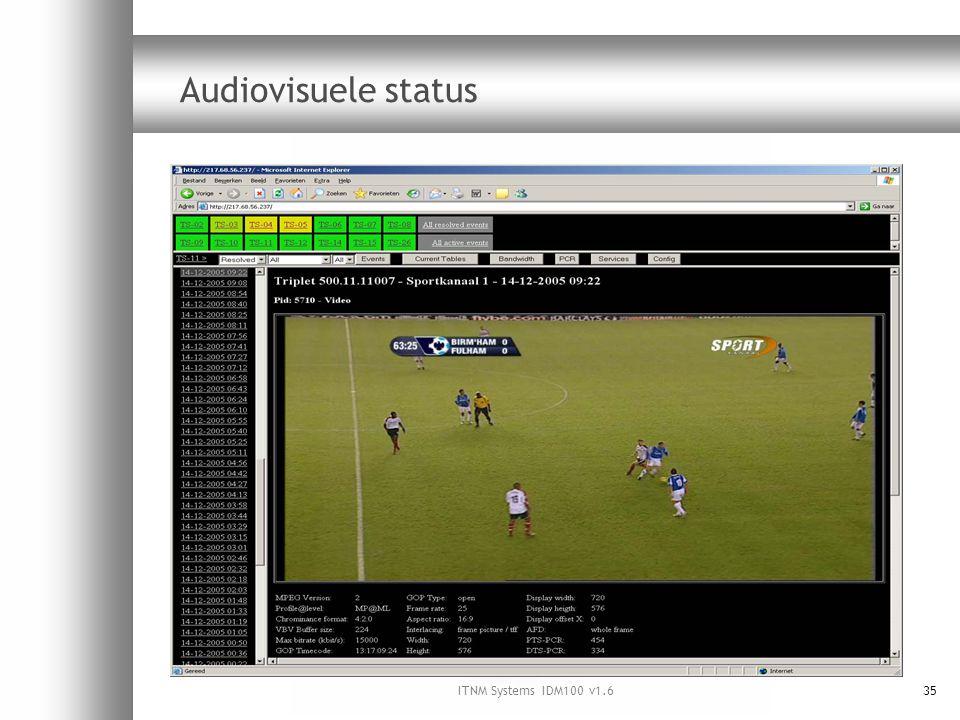ITNM Systems IDM100 v1.635 Audiovisuele status