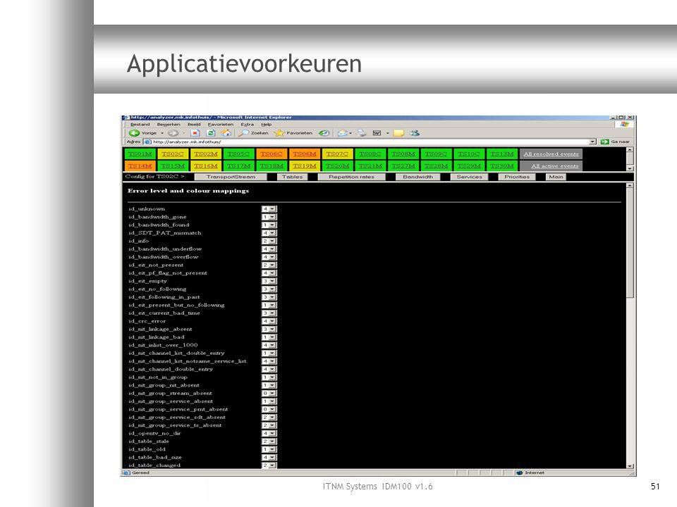ITNM Systems IDM100 v1.651 Applicatievoorkeuren