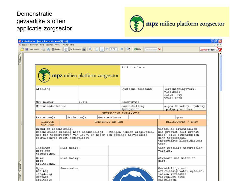 Demonstratie gevaarlijke stoffen applicatie zorgsector De WIK en VIB is als pdf beschikbaar in een standaard opmaak