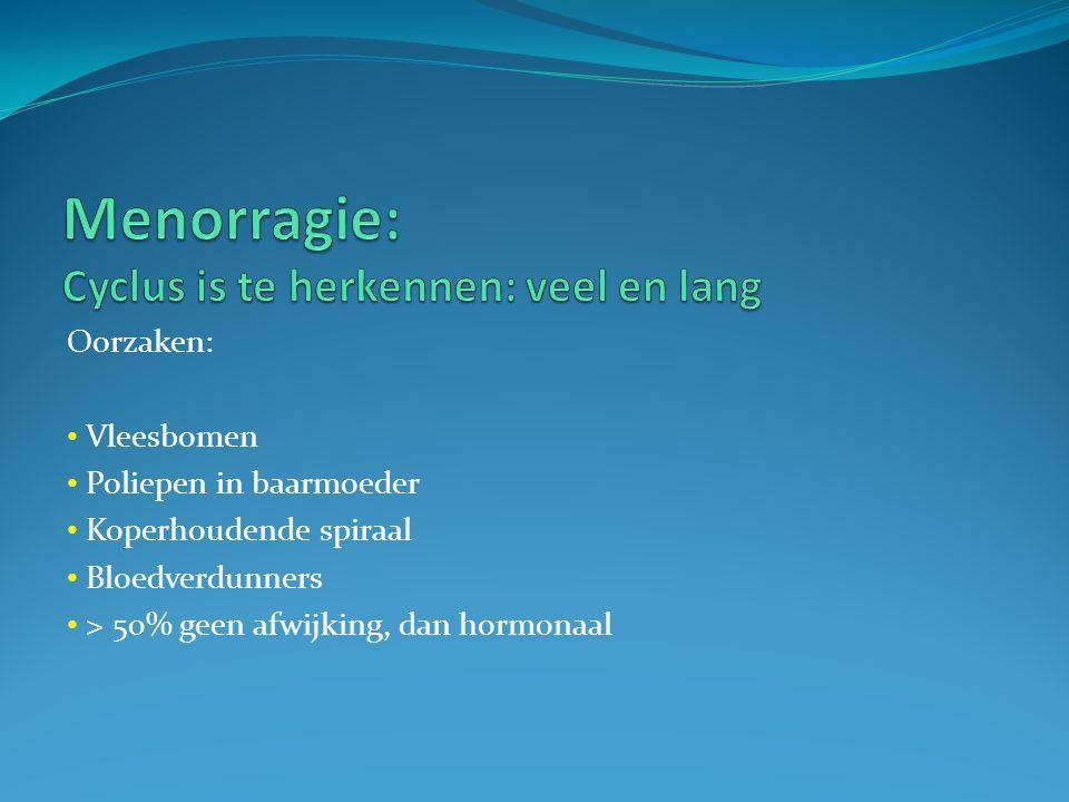 Oorzaak: • Atrofie van endometrium • Cervix carcinoom • Endometrium carcinoom