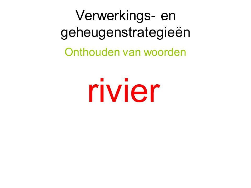 Verwerkings- en geheugenstrategieën Onthouden van woorden rivier