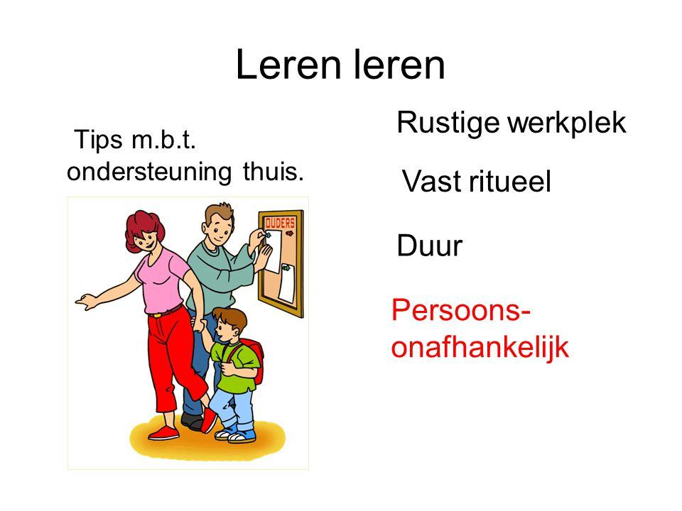 Leren leren Tips m.b.t. ondersteuning thuis. Rustige werkplek Vast ritueel Duur Persoons- onafhankelijk