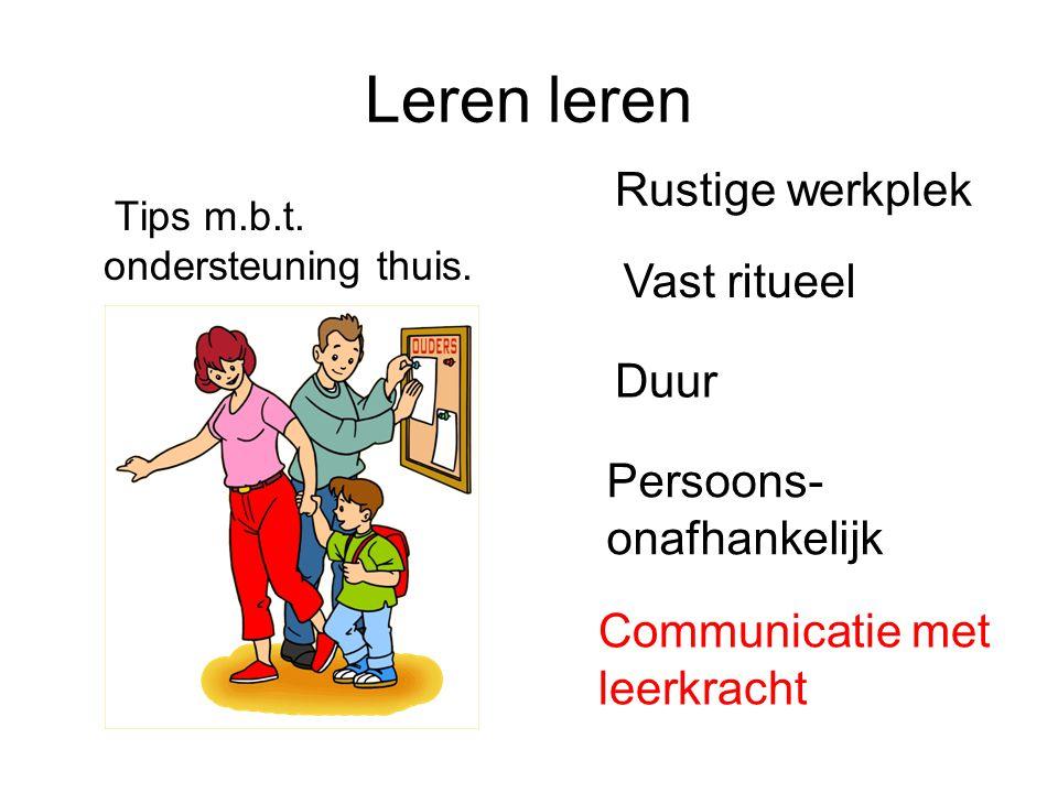 Leren leren Tips m.b.t. ondersteuning thuis. Rustige werkplek Vast ritueel Duur Persoons- onafhankelijk Communicatie met leerkracht