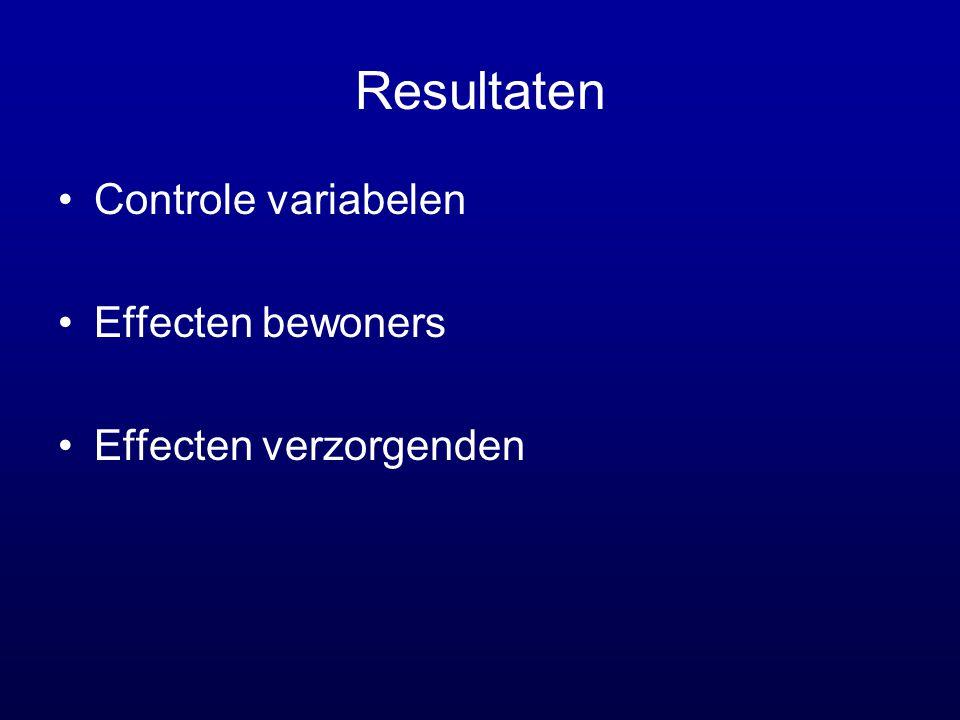 Resultaten •Controle variabelen •Effecten bewoners •Effecten verzorgenden