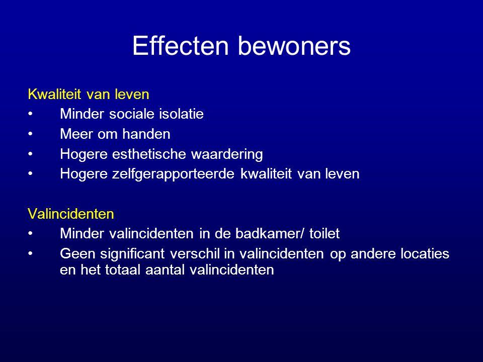 Effecten bewoners Kwaliteit van leven •Minder sociale isolatie •Meer om handen •Hogere esthetische waardering •Hogere zelfgerapporteerde kwaliteit van