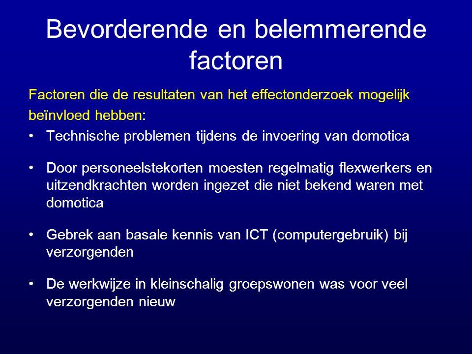 Bevorderende en belemmerende factoren Factoren die de resultaten van het effectonderzoek mogelijk beïnvloed hebben: •Technische problemen tijdens de i