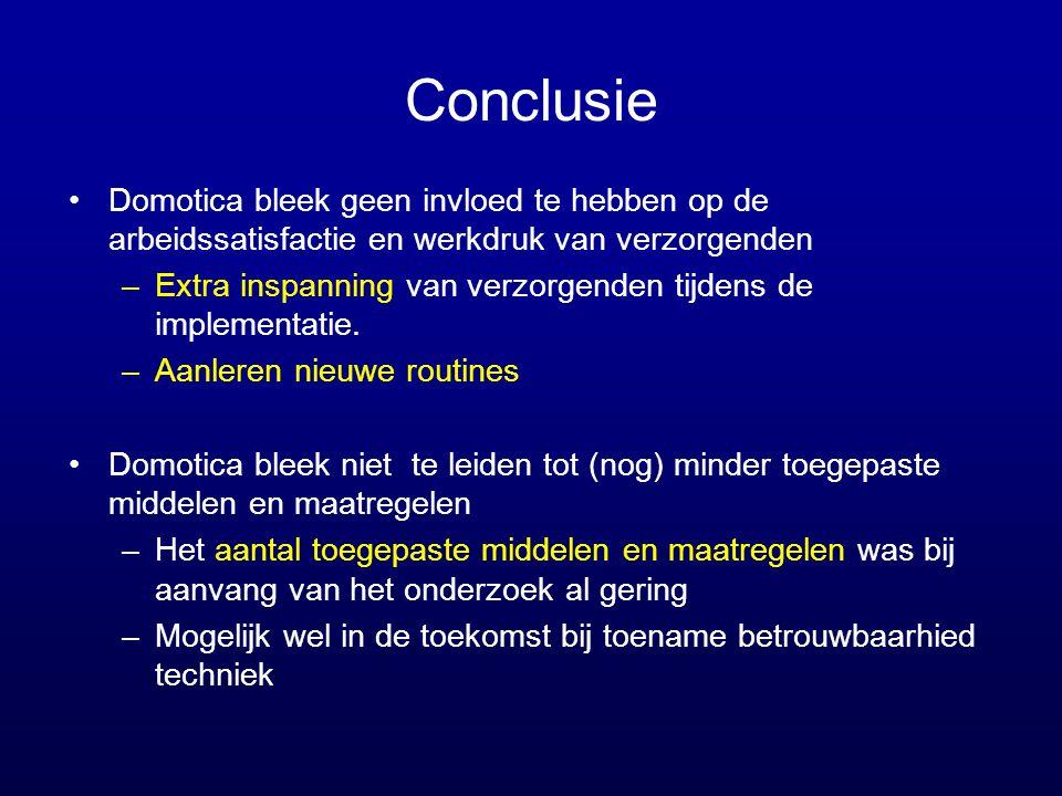 Conclusie •Domotica bleek geen invloed te hebben op de arbeidssatisfactie en werkdruk van verzorgenden –Extra inspanning van verzorgenden tijdens de i