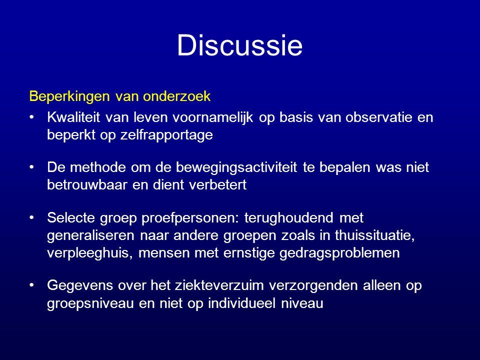 Discussie Beperkingen van onderzoek •Kwaliteit van leven voornamelijk op basis van observatie en beperkt op zelfrapportage •De methode om de bewegings