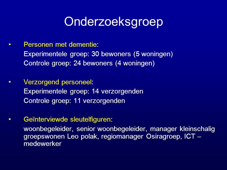 Onderzoeksgroep •Personen met dementie: Experimentele groep: 30 bewoners (5 woningen) Controle groep: 24 bewoners (4 woningen) •Verzorgend personeel: