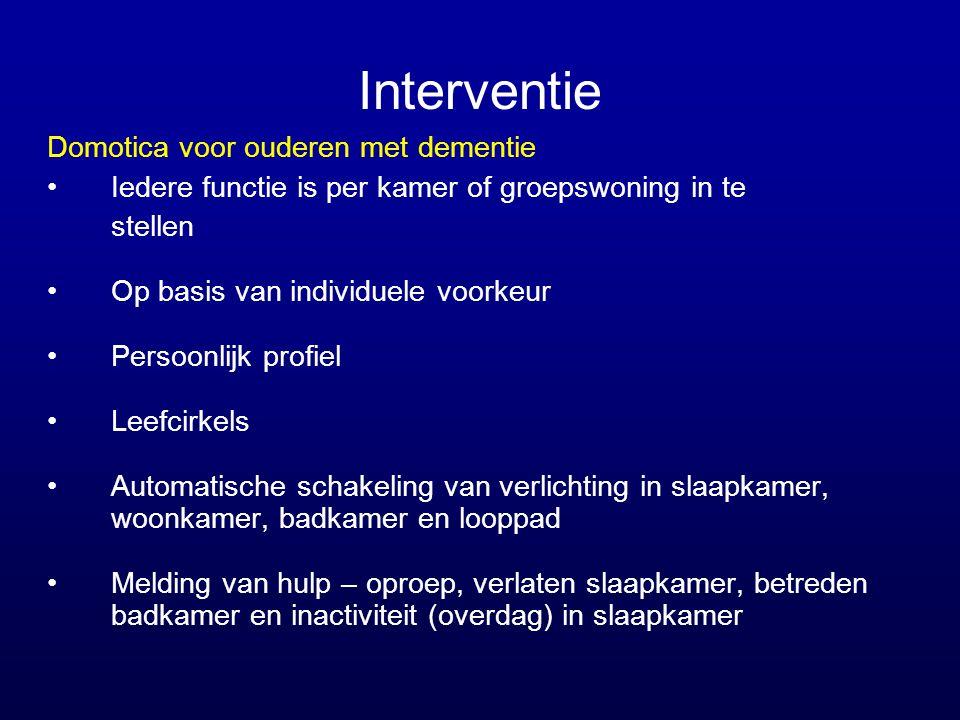 Interventie Domotica voor ouderen met dementie •Iedere functie is per kamer of groepswoning in te stellen •Op basis van individuele voorkeur •Persoonl