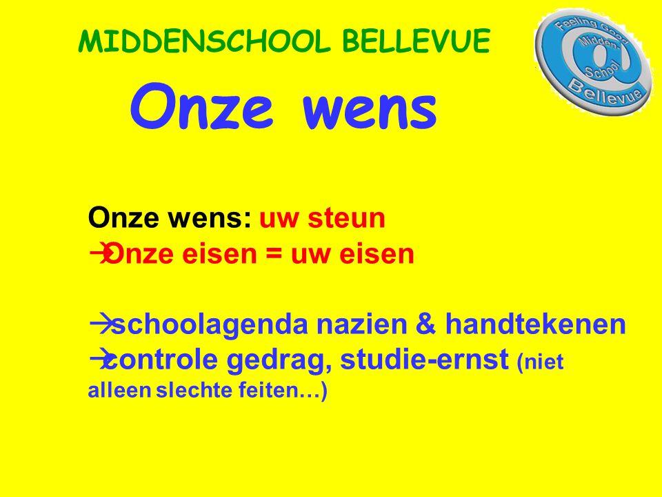 Onze wens MIDDENSCHOOL BELLEVUE Onze wens: uw steun  Onze eisen = uw eisen  schoolagenda nazien & handtekenen  controle gedrag, studie-ernst (niet alleen slechte feiten…)