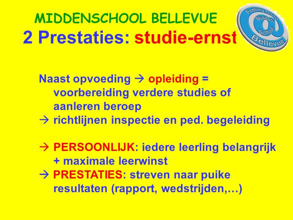 2 Prestaties: studie-ernst MIDDENSCHOOL BELLEVUE Naast opvoeding  opleiding = voorbereiding verdere studies of aanleren beroep  richtlijnen inspectie en ped.