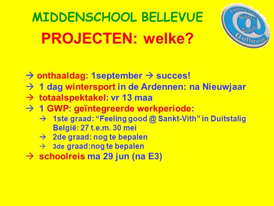 PROJECTEN: welke. MIDDENSCHOOL BELLEVUE  onthaaldag: 1september  succes.