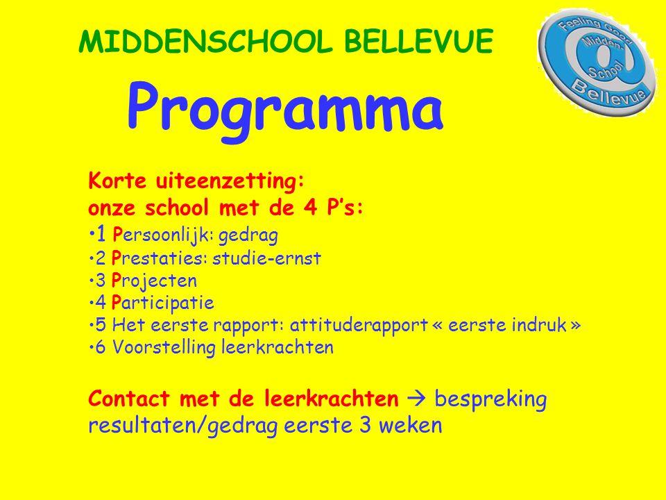 Programma MIDDENSCHOOL BELLEVUE Korte uiteenzetting: onze school met de 4 P's: •1 Persoonlijk: gedrag •2 Prestaties: studie-ernst •3 Projecten •4 Part