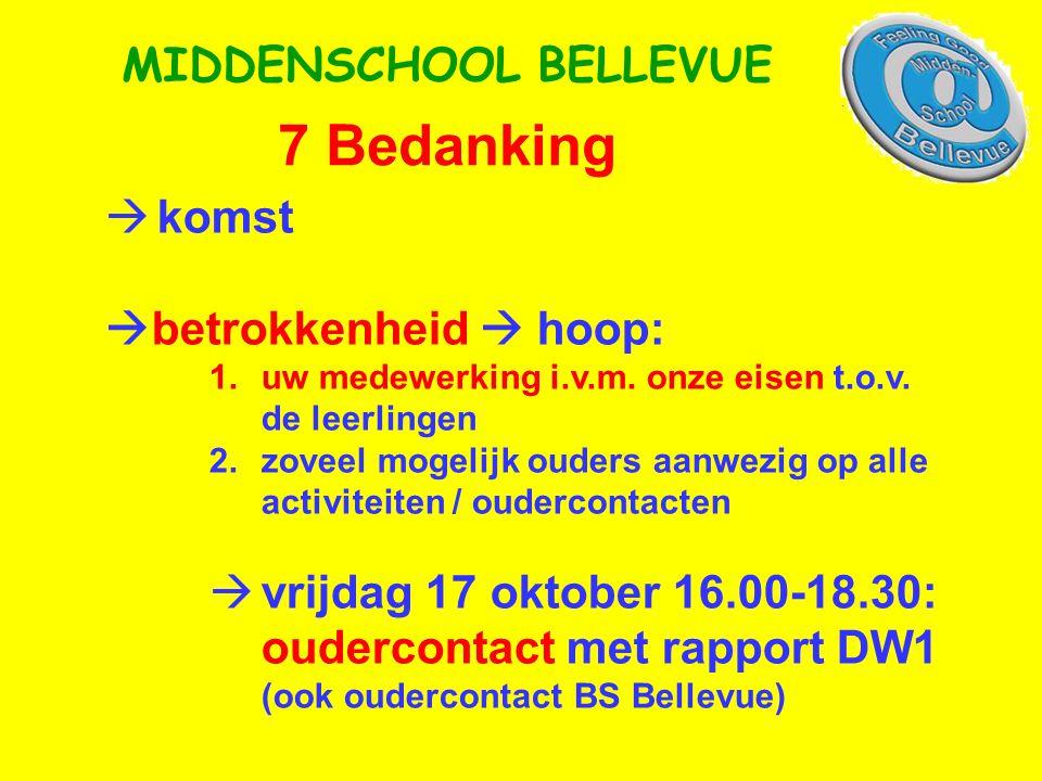 7 Bedanking MIDDENSCHOOL BELLEVUE  komst  betrokkenheid  hoop: 1.uw medewerking i.v.m. onze eisen t.o.v. de leerlingen 2.zoveel mogelijk ouders aan
