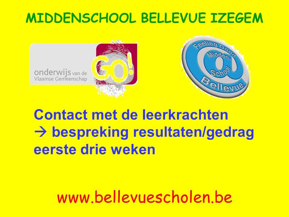 Contact met de leerkrachten  bespreking resultaten/gedrag eerste drie weken MIDDENSCHOOL BELLEVUE IZEGEM www.bellevuescholen.be