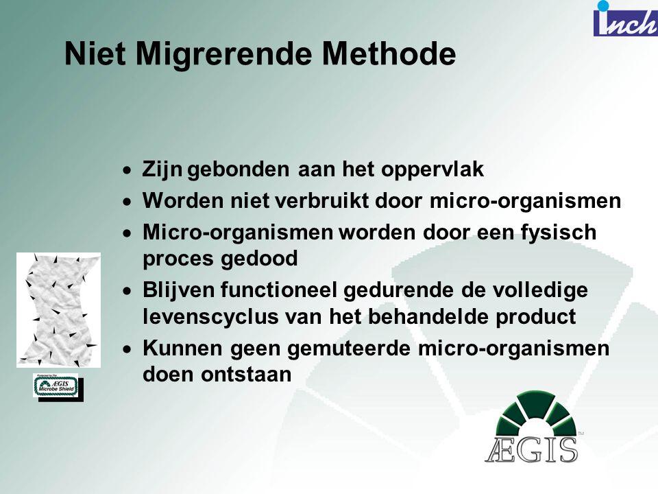 Niet Migrerende Methode  Zijn gebonden aan het oppervlak  Worden niet verbruikt door micro-organismen  Micro-organismen worden door een fysisch pro
