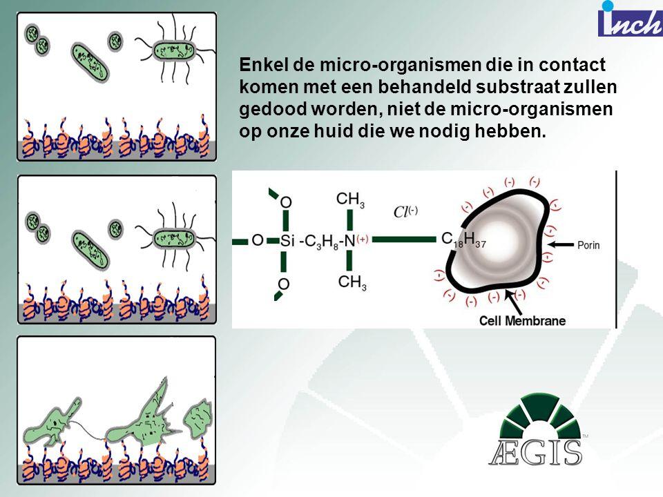 Enkel de micro-organismen die in contact komen met een behandeld substraat zullen gedood worden, niet de micro-organismen op onze huid die we nodig he