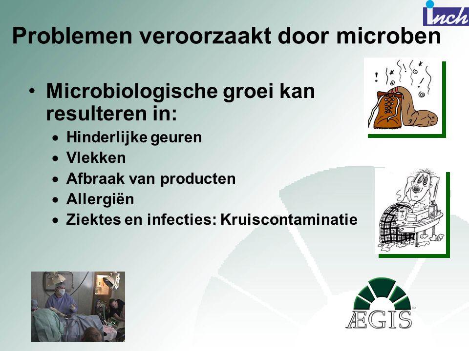 Problemen veroorzaakt door microben •Microbiologische groei kan resulteren in:  Hinderlijke geuren  Vlekken  Afbraak van producten  Allergiën  Zi