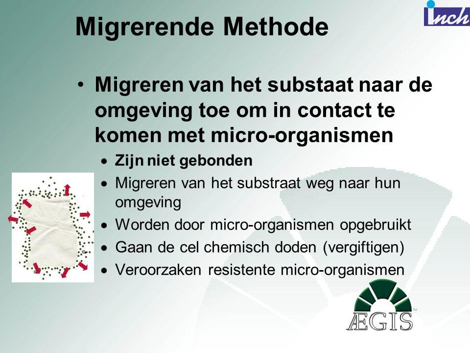 Migrerende Methode •Migreren van het substaat naar de omgeving toe om in contact te komen met micro-organismen  Zijn niet gebonden  Migreren van het
