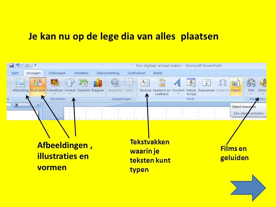 De stukjes tekst typ je in het notitiegedeelte onderaan je scherm. Let op! Deze notities zie je niet op de dia! Je kan ze wel goed gebruiken als hulpt