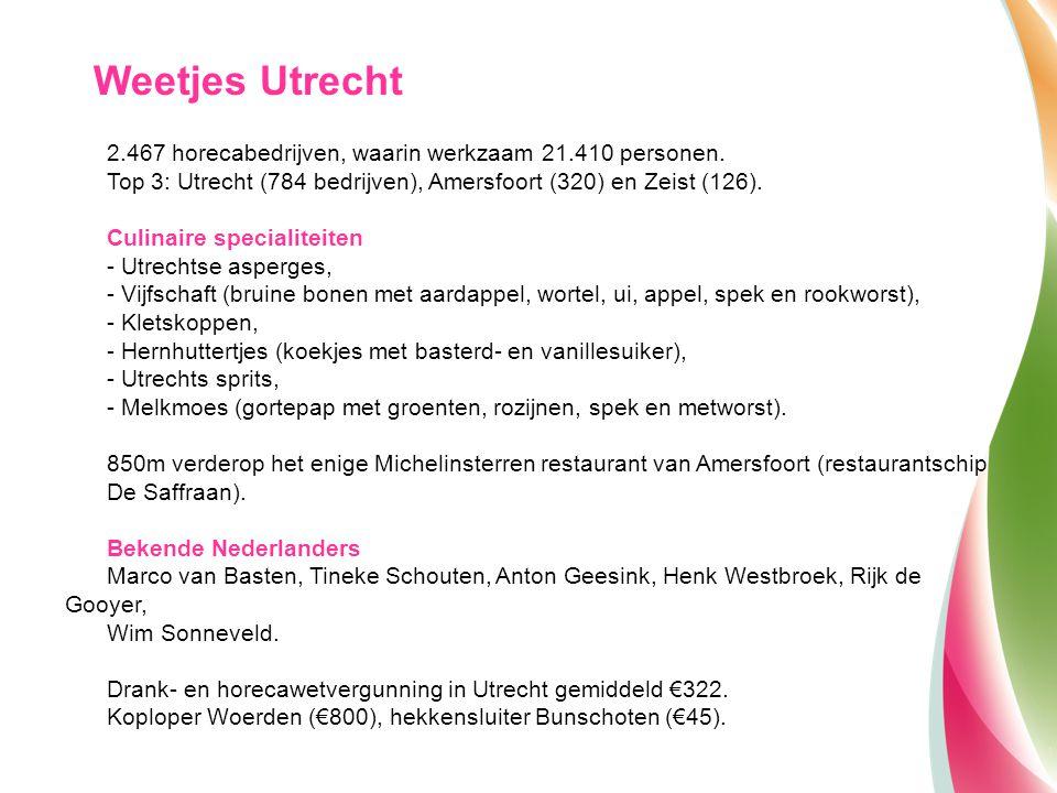 2.467 horecabedrijven, waarin werkzaam 21.410 personen. Top 3: Utrecht (784 bedrijven), Amersfoort (320) en Zeist (126). Culinaire specialiteiten - Ut