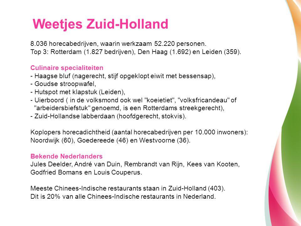 Weetjes Zuid-Holland 8.036 horecabedrijven, waarin werkzaam 52.220 personen. Top 3: Rotterdam (1.827 bedrijven), Den Haag (1.692) en Leiden (359). Cul