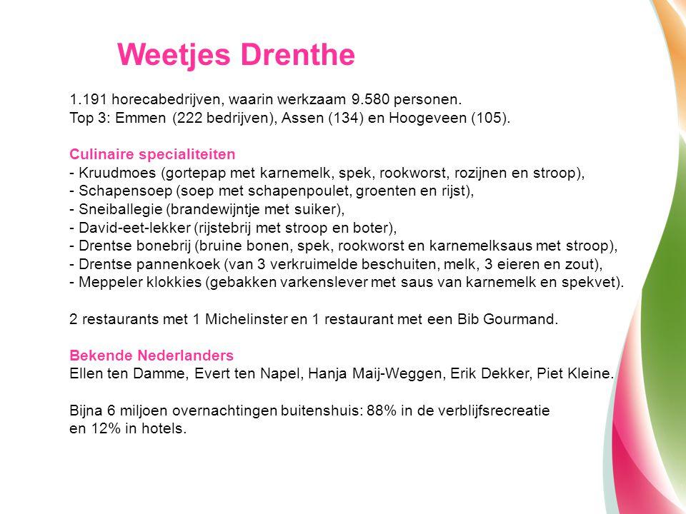 1.191 horecabedrijven, waarin werkzaam 9.580 personen. Top 3: Emmen (222 bedrijven), Assen (134) en Hoogeveen (105). Culinaire specialiteiten - Kruudm