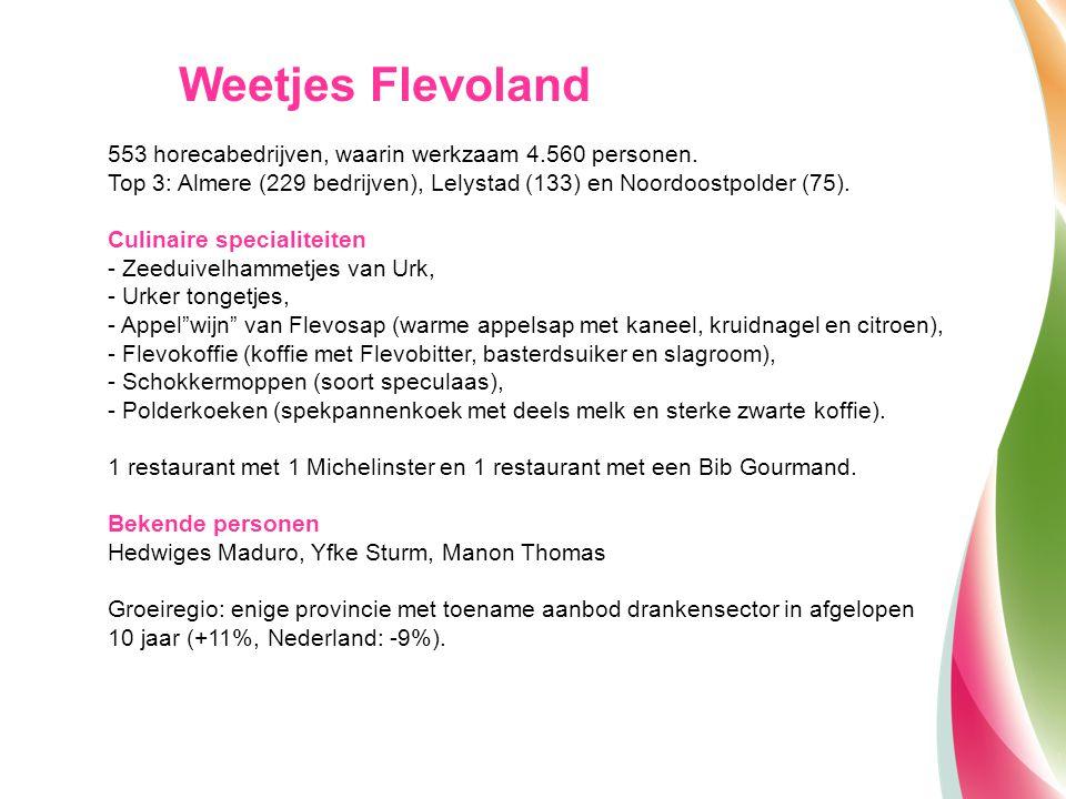 553 horecabedrijven, waarin werkzaam 4.560 personen. Top 3: Almere (229 bedrijven), Lelystad (133) en Noordoostpolder (75). Culinaire specialiteiten -