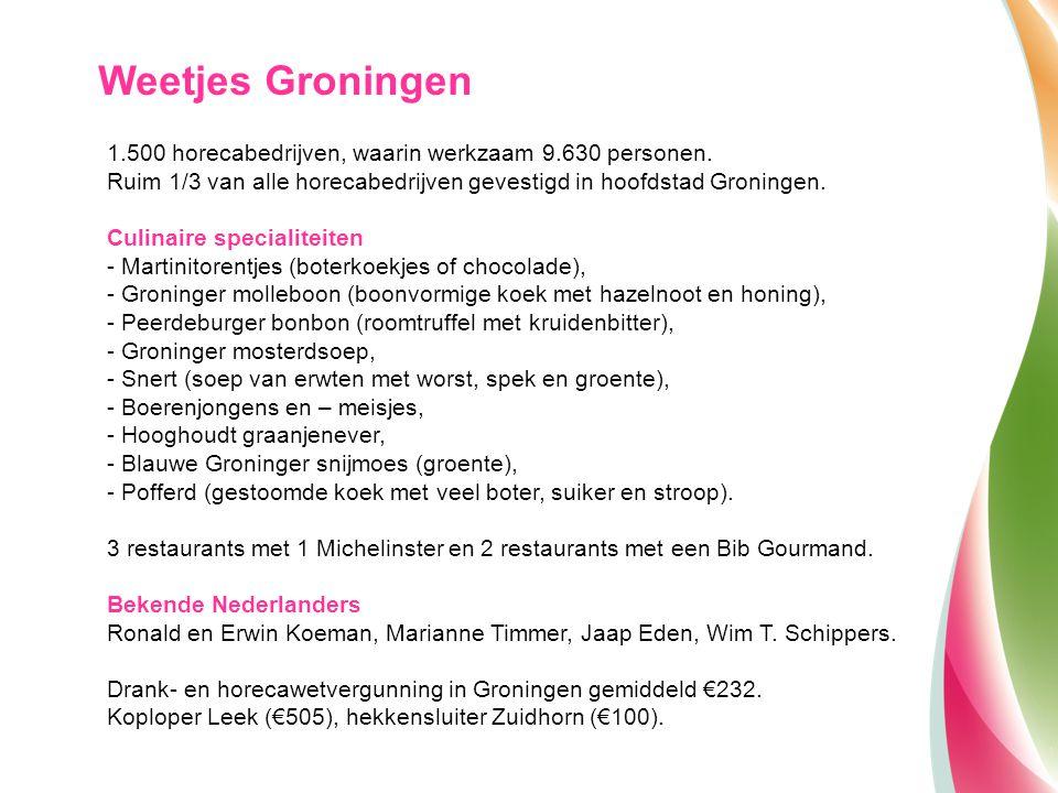 Weetjes Groningen 1.500 horecabedrijven, waarin werkzaam 9.630 personen. Ruim 1/3 van alle horecabedrijven gevestigd in hoofdstad Groningen. Culinaire