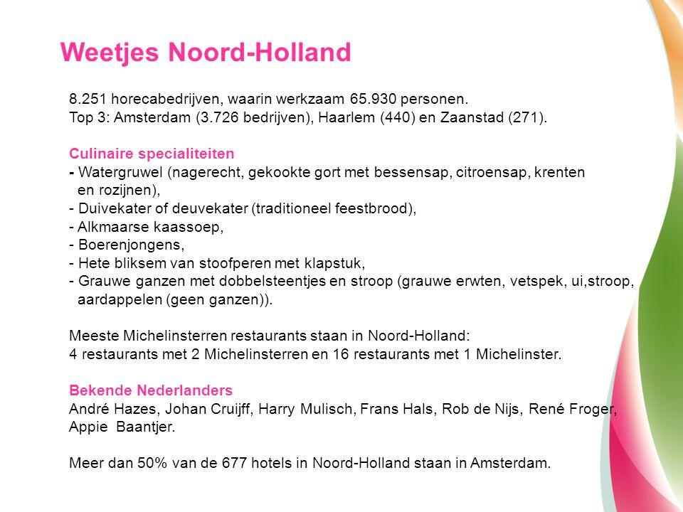 8.251 horecabedrijven, waarin werkzaam 65.930 personen. Top 3: Amsterdam (3.726 bedrijven), Haarlem (440) en Zaanstad (271). Culinaire specialiteiten