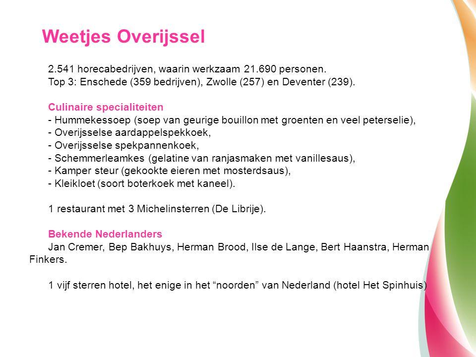 2.541 horecabedrijven, waarin werkzaam 21.690 personen. Top 3: Enschede (359 bedrijven), Zwolle (257) en Deventer (239). Culinaire specialiteiten - Hu