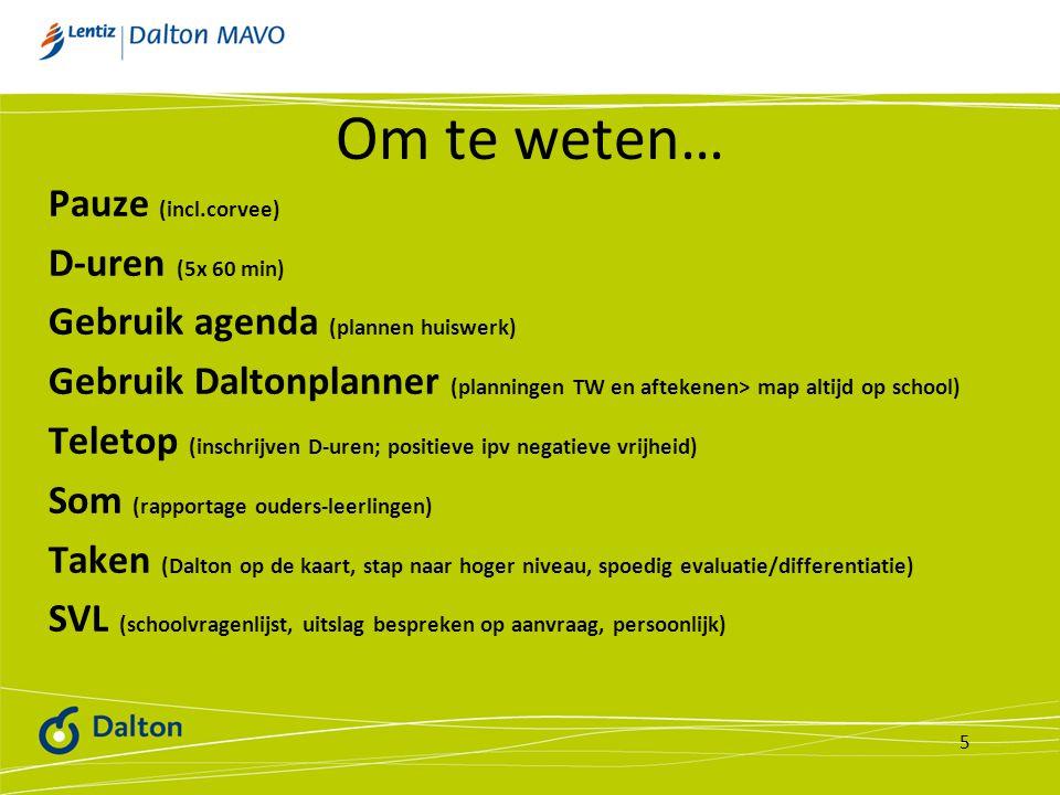 Om te weten… Pauze (incl.corvee) D-uren (5x 60 min) Gebruik agenda (plannen huiswerk) Gebruik Daltonplanner (planningen TW en aftekenen> map altijd op