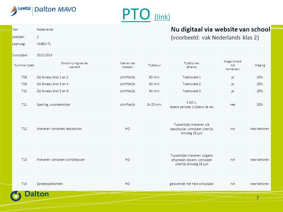Vak:Nederlands Leerjaar:2 Leerweg:VMBO-TL Cursusjaar:2012-2013 Nummer toets Omschrijving van de leerstof Manier van toetsen Tijdsduur Tijdstip van afn