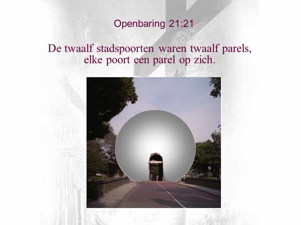 De twaalf stadspoorten waren twaalf parels, elke poort een parel op zich. Openbaring 21:21
