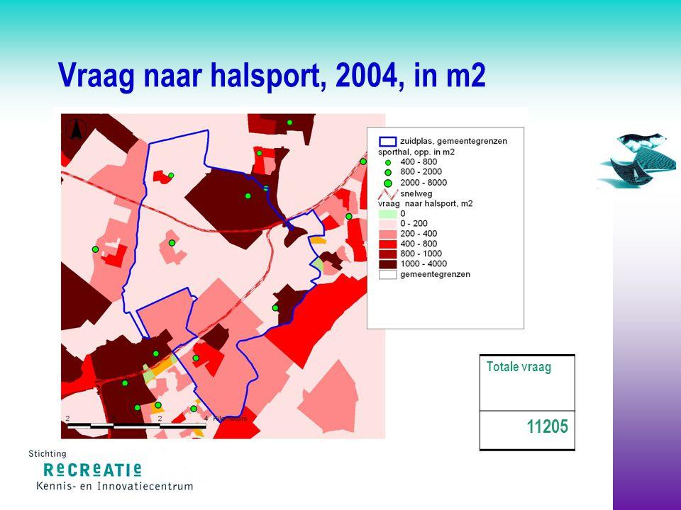 Vraag naar halsport, 2004, in m2 Totale vraag 11205