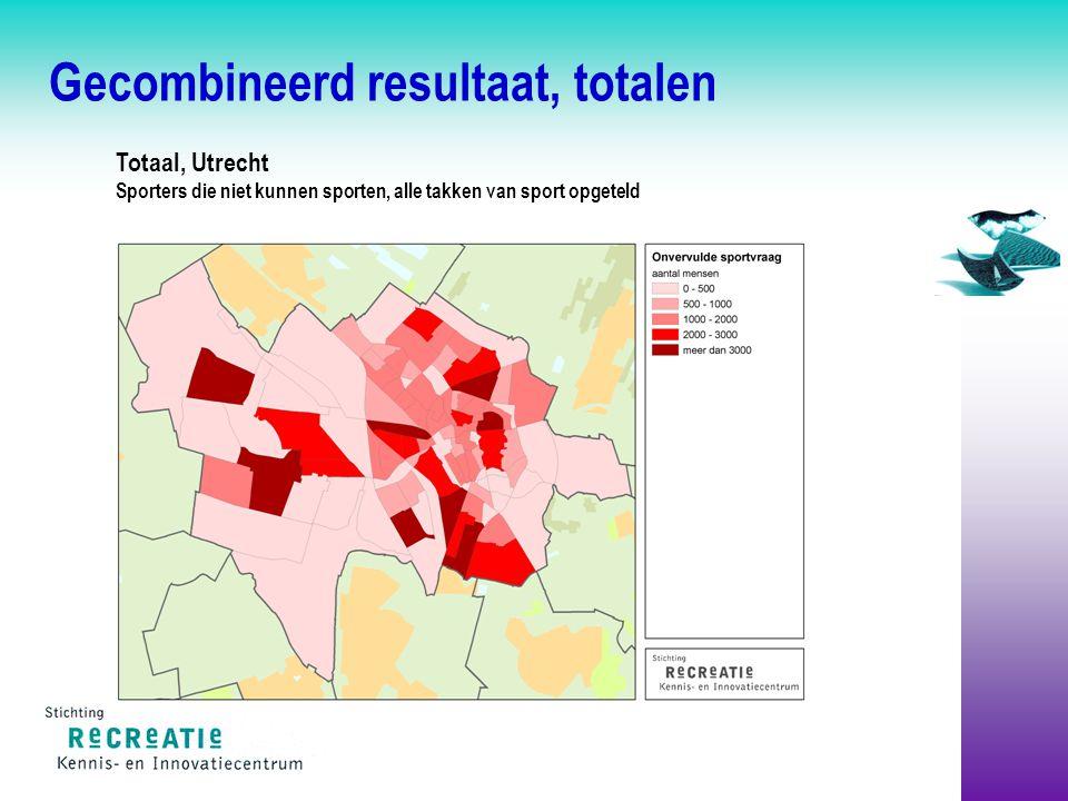 Gecombineerd resultaat, totalen Totaal, Utrecht Sporters die niet kunnen sporten, alle takken van sport opgeteld