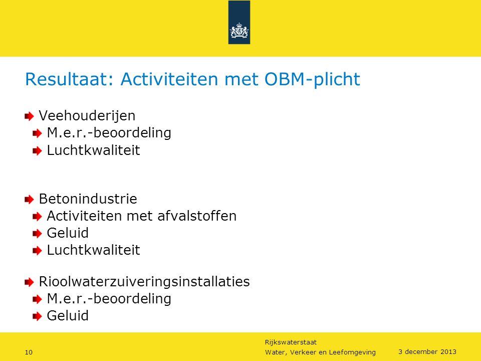 Rijkswaterstaat 10Water, Verkeer en Leefomgeving 3 december 2013 Resultaat: Activiteiten met OBM-plicht Veehouderijen M.e.r.-beoordeling Luchtkwalitei