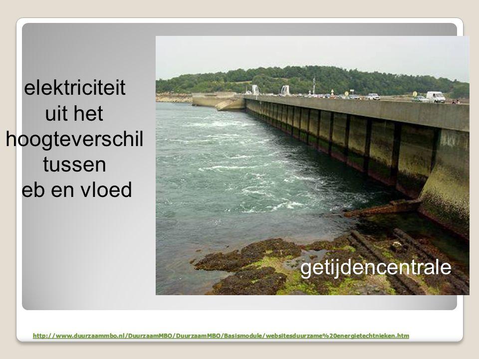 http://www.duurzaammbo.nl/DuurzaamMBO/DuurzaamMBO/Basismodule/websitesduurzame%20energietechtnieken.htm elektriciteit uit het hoogteverschil tussen eb