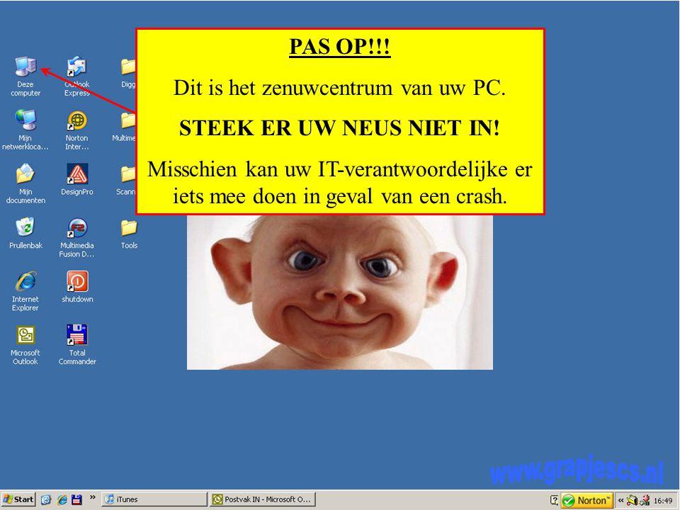 PAS OP!!. Dit is het zenuwcentrum van uw PC. STEEK ER UW NEUS NIET IN.