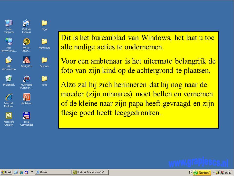 Dit is het bureaublad van Windows, het laat u toe alle nodige acties te ondernemen.