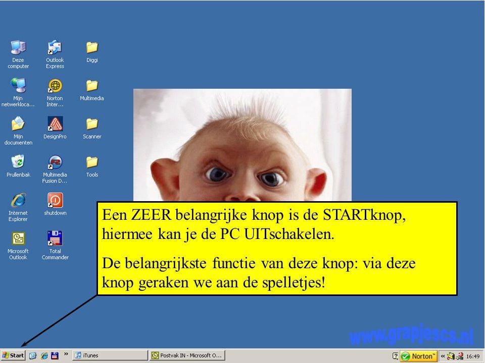 Een ZEER belangrijke knop is de STARTknop, hiermee kan je de PC UITschakelen.