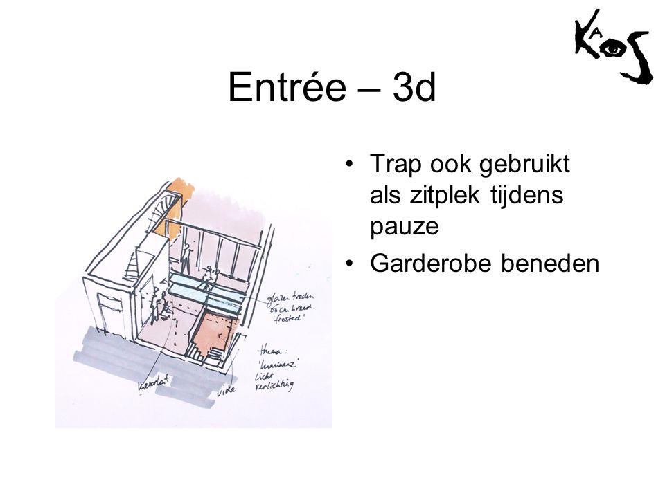 Entrée – 3d •Trap ook gebruikt als zitplek tijdens pauze •Garderobe beneden