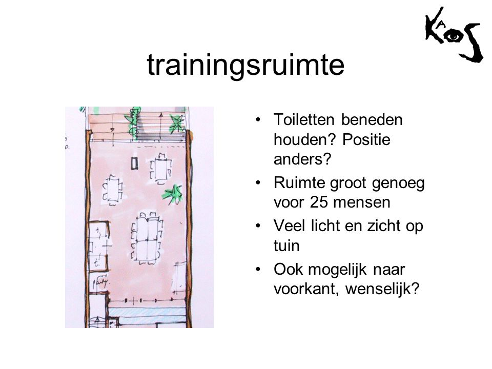 trainingsruimte •Toiletten beneden houden? Positie anders? •Ruimte groot genoeg voor 25 mensen •Veel licht en zicht op tuin •Ook mogelijk naar voorkan