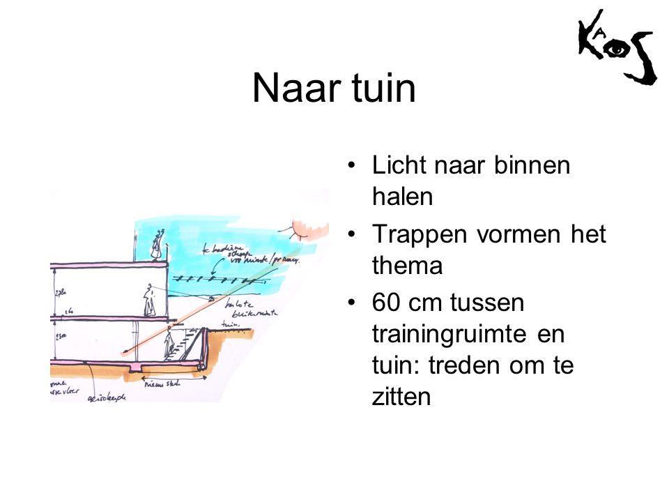 Naar tuin •Licht naar binnen halen •Trappen vormen het thema •60 cm tussen trainingruimte en tuin: treden om te zitten